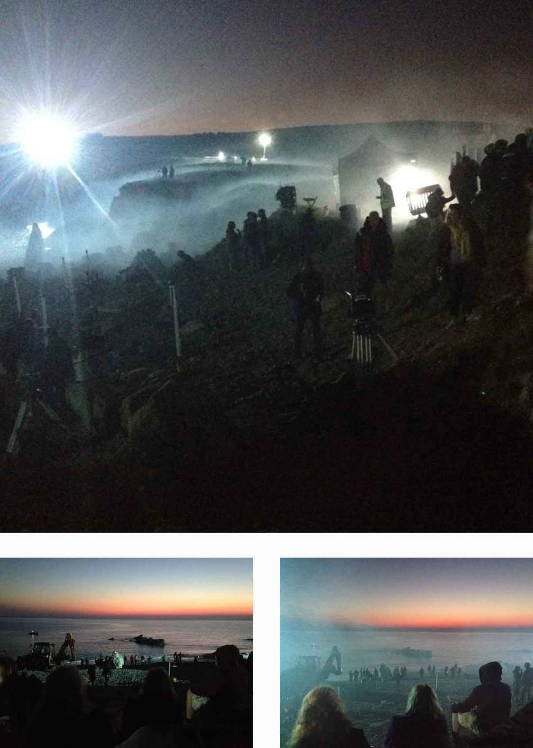 sunset and the Poldark film crew at church cove and dollar cove Cornwall