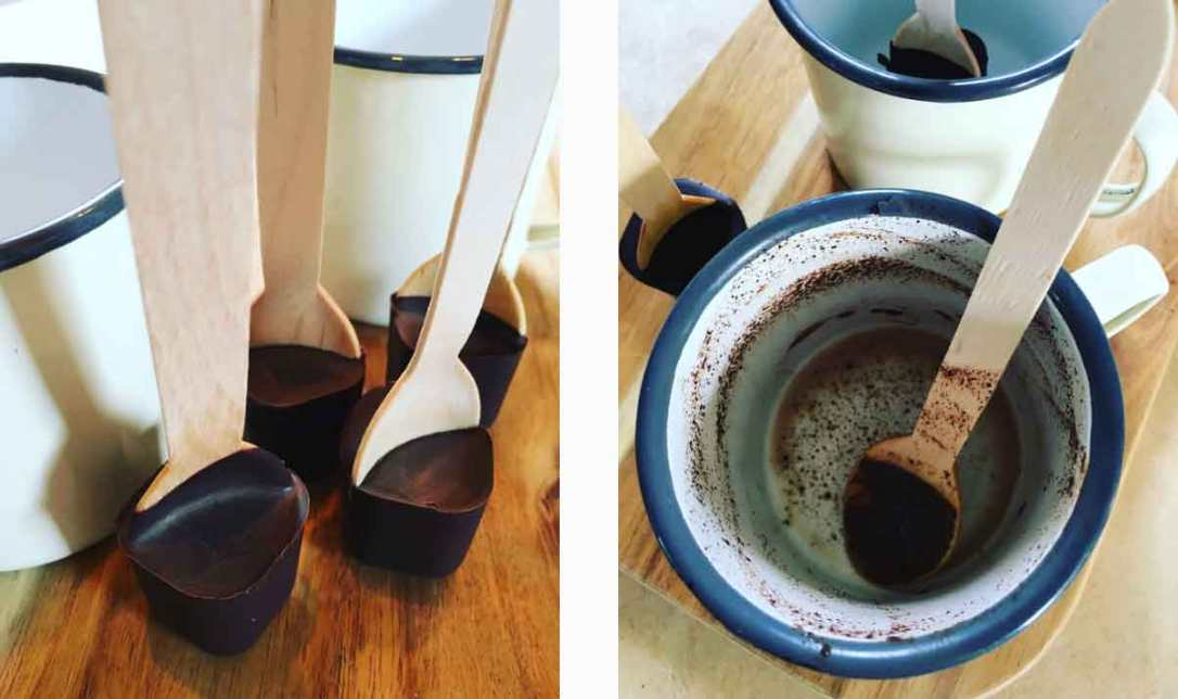 hot chocolate spoons and enamel mugs from the honesty shop at barefoot glamping Cornwall