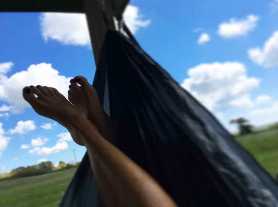 the view from relaxing in the hammock outside rusty the tin tent barefoot glamping Cornwall