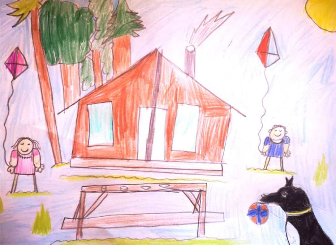 a kids drawing of their holiday in woody safari tent