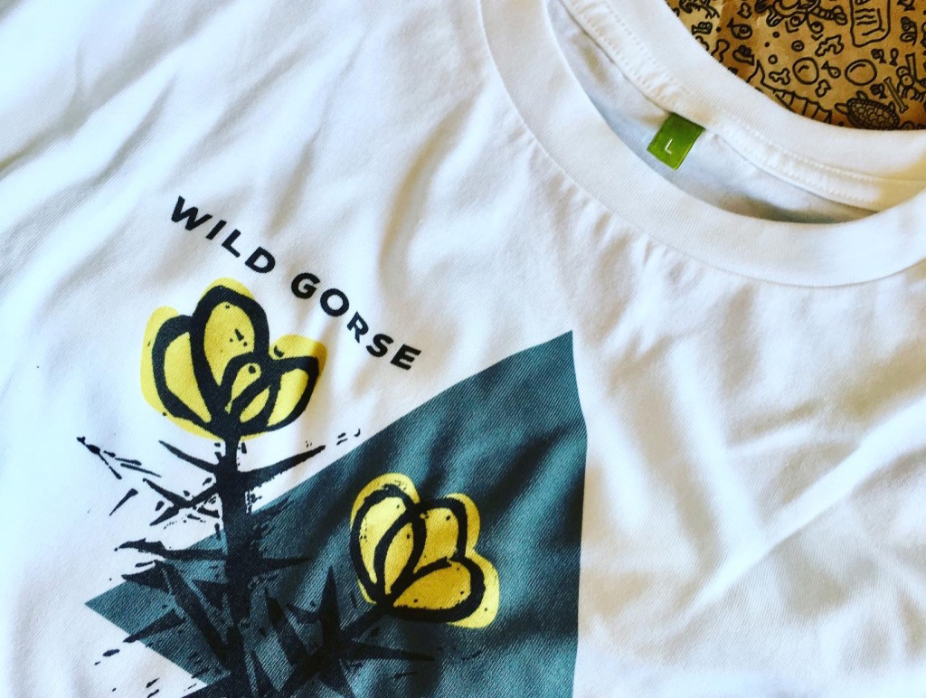 close-up of wild gorse t-shirt graphic