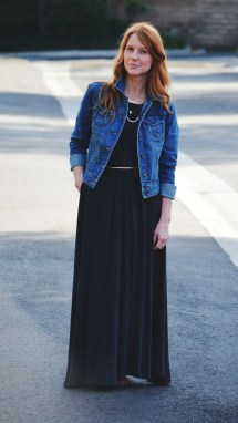 Wedding Maxi Dress with Denim Jacket