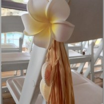 Frangipani with raffia & shell aisle decor.