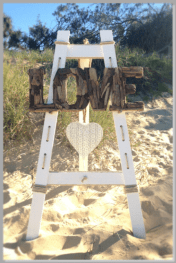 Beach stand, driftwood Love sign & hanging heart.