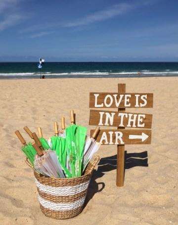 Wedding sign & parasols