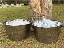 Metal ice buckets for refreshments for your guests.