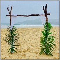 Dirtwood wedding arbour styled with whire curtains and real palm leaves. Noosa Beach.