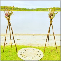 Rustic wedding tipi's styled with dried flower arrangement. Chambers Island, Maroochydore.