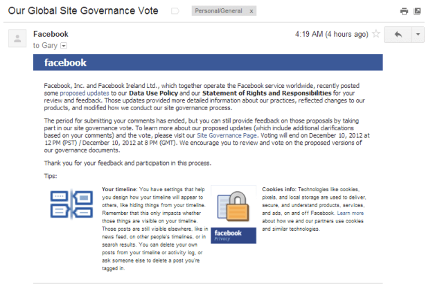 Facebook Our Global Site Governance Vote email