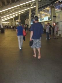 Walking Barefoot In York Yankee Stadium