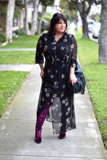 Floral Midi Dress with Boots