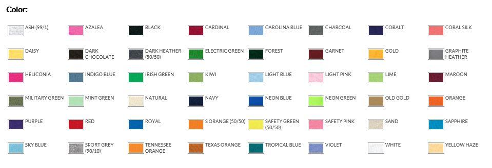 Gildan 5000b Color Chart