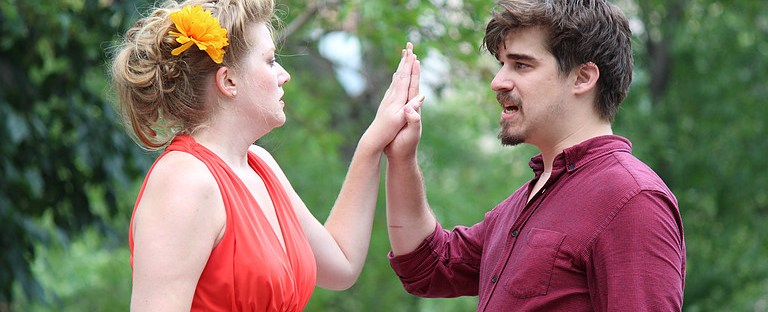 Courtney Moors as Beatrice and Rob Sniffin as Benedick