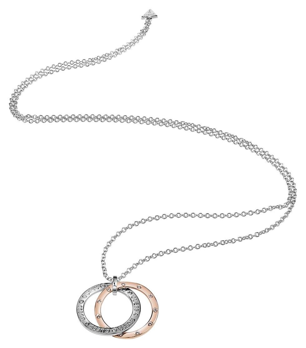Halskjede i sølv med pynt i sølv og rosegull