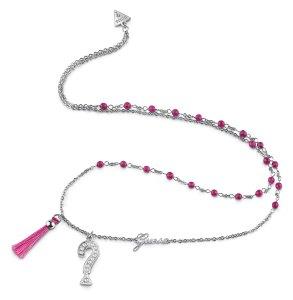 Halskjede i sølv med rosa stener