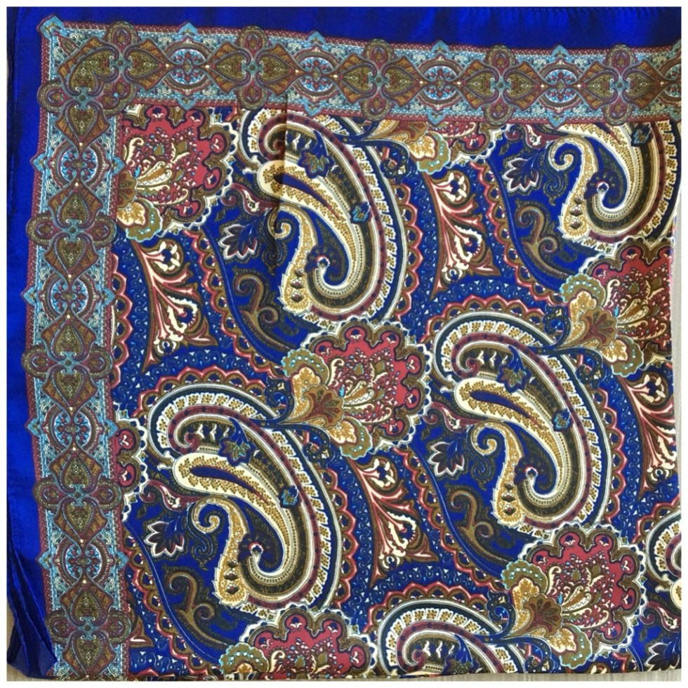 Skjerf paisleymønstret blå, brun burgunder