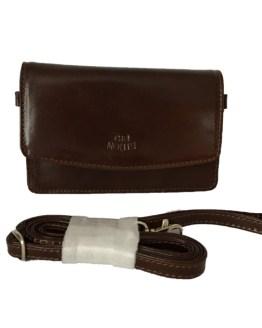 Liten skulderveske/ lommebok brun, front