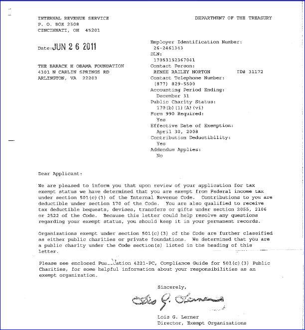 barack-h-obama-foundation-irs-tax-exempt-letter-signed-by-lois-lerner ...
