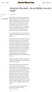 Ankündigung der Hildesheimer Allgemeine Zeitung zum 6. Kampf am Zitterbach