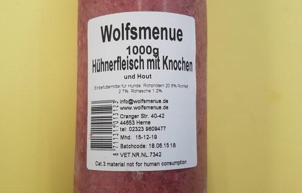 Wolfsmenue Hühnerfleisch mit Knochen