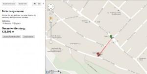 Die entsprechende Strecke nachgemessen in Google Maps