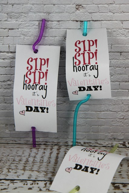 Sip Sip Hooray Valentines Day Card Printable for Silly Straws
