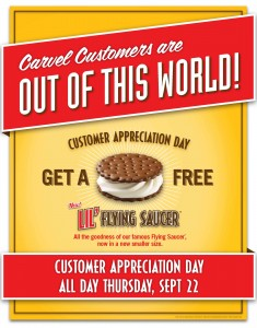 Free Lil39 Flying Saucer IceCream Sandwich at Carvel
