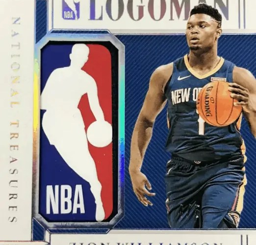 zion williamson national treasures card LOGOMAN