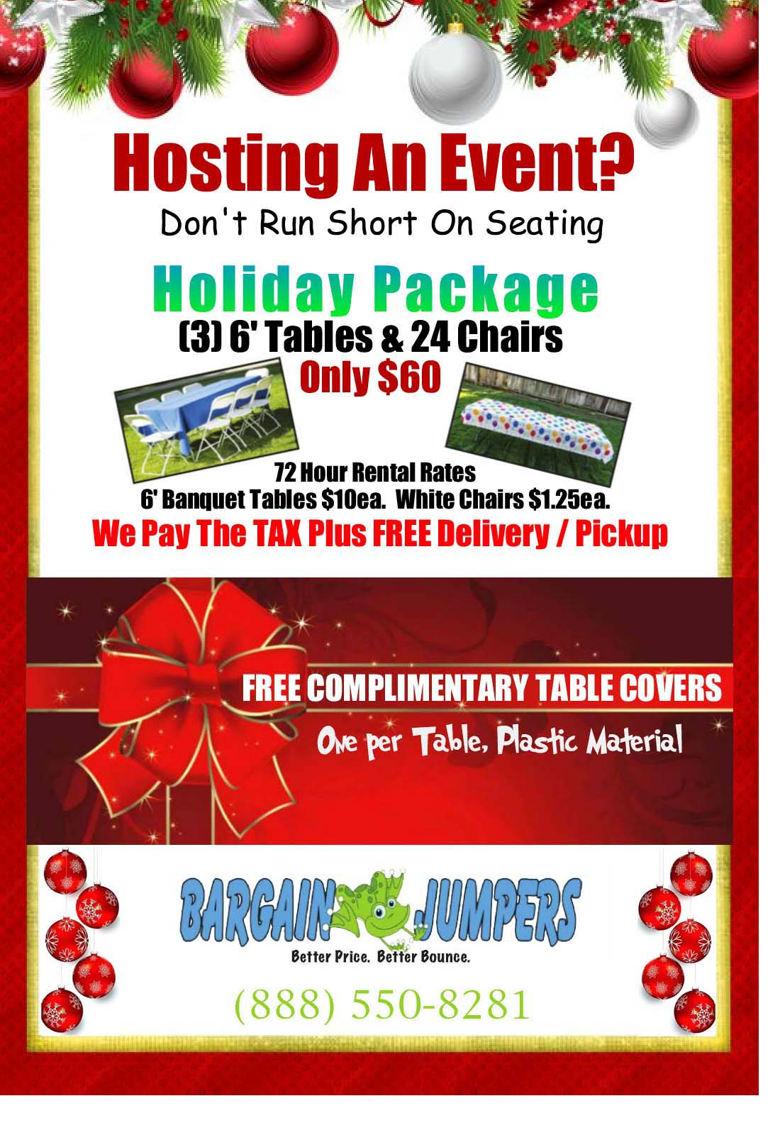 chair rentals sacramento director covers adelaide and table holiday special jump house bargain jumpers