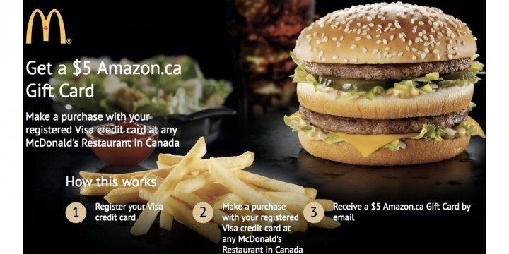 Free $5 Amazon Gift Card With Visa Use @ McDonald's Restaurant