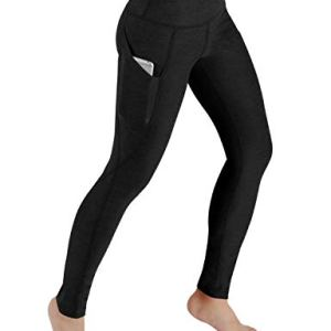 ODODOS High Waist Out Pocket Yoga Pants Tummy Control Workout Running 4 Way Stretch Yoga Leggings Black
