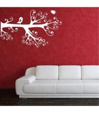 Love birds on the branch romantic wall art sticker, wall ...