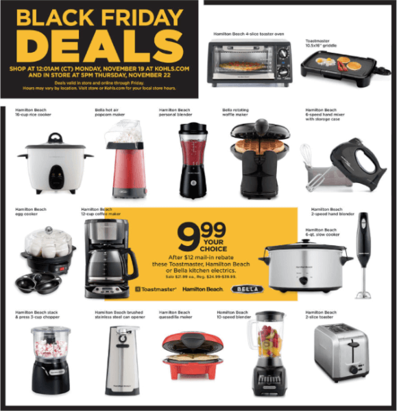 best small kitchen appliances acrylic sinks kohl s black friday deals on now
