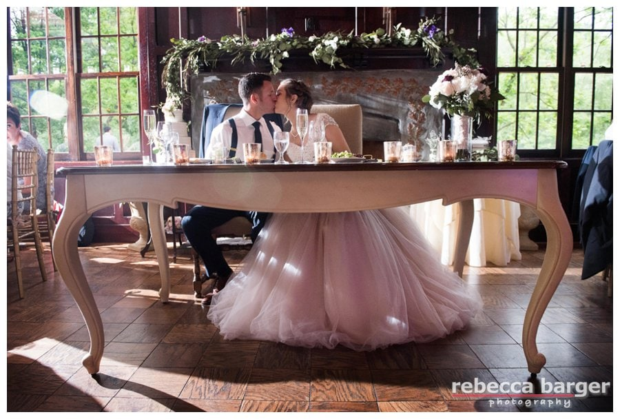 Love the way you can see Becca's gown under their sweetheart table!