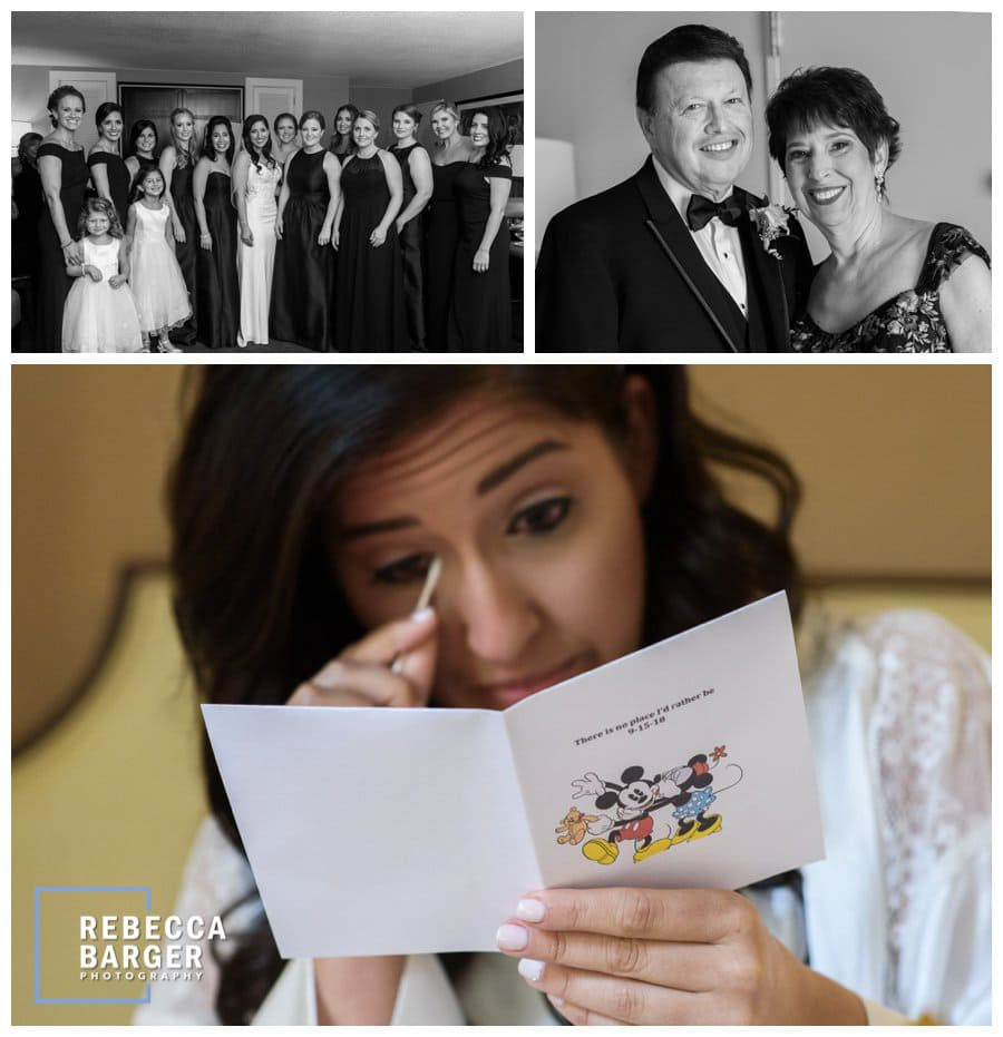 Tears from her husband-to-be's wedding morning card and gift.