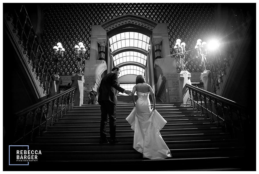 Bridal party on the glorious staircase.