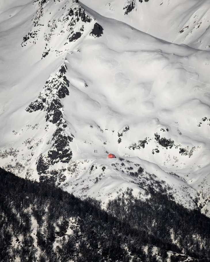 Bariloche: Refúgio López no Cerro López no início da primavera.