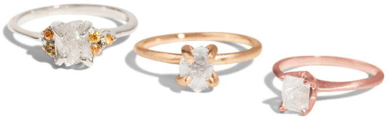 L to R: Avens Asymmetrical Raw Diamond Ring, Kalmia Raw Diamond Ring, Avens Raw Diamond Ring