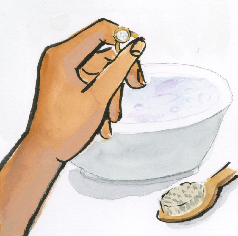 Illustration of hand cleaning ring