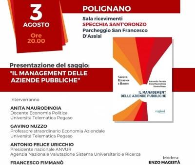 """Economia e solidarietà: a Polignano presentato il libro """"Il Management delle aziende pubbliche"""" scritto da tre docenti dell'Università telematica Pegaso"""