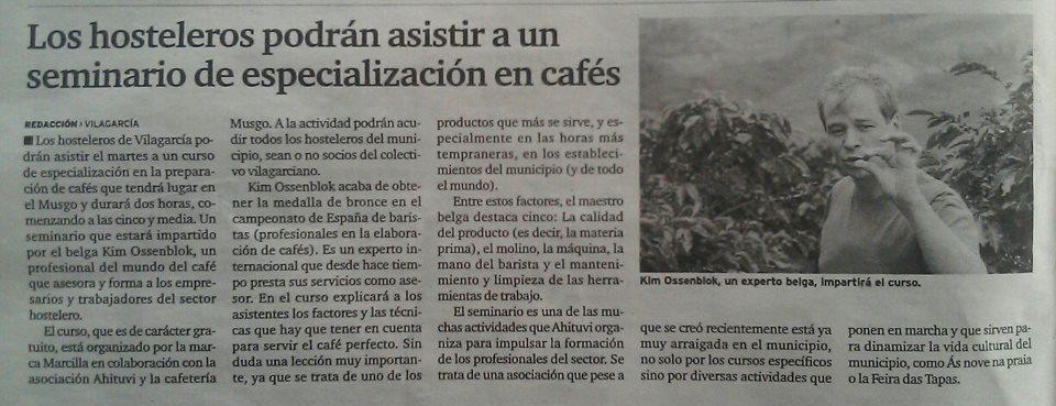Barista Kim Curso de barista en Vilagarcia - Galicia