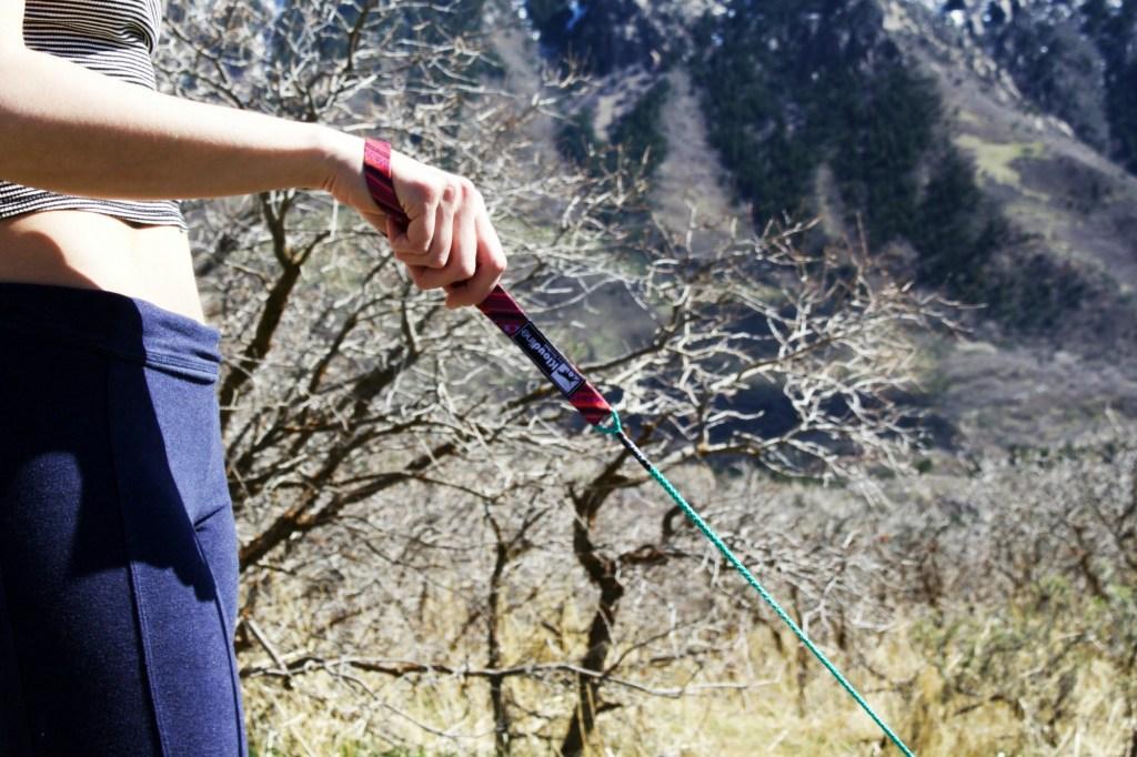 Woman holding dog leash