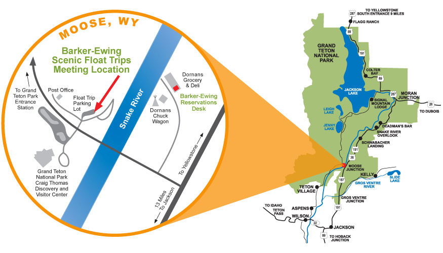 Directions to Jackson Hole Float Trips