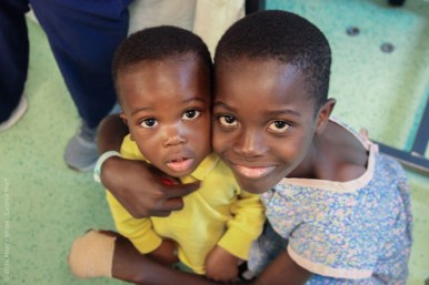 """This is Romest and his little brother. Romest had plastic surgery from severe burns and became friends with Brandon. We would visit him in the local hope center after he left the ship, and he would immediately run to Brandon yelling """"BJ"""" and tackling him."""
