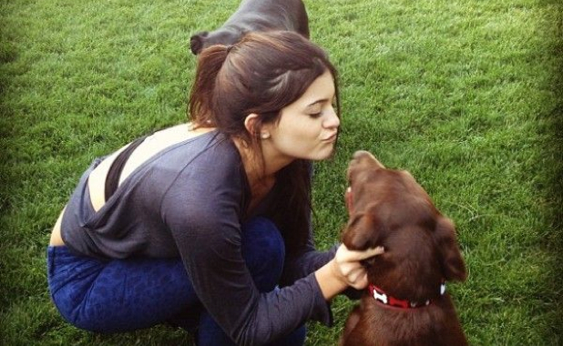 Kylie Jenner Smothers Her Dog With Kisses Because Science