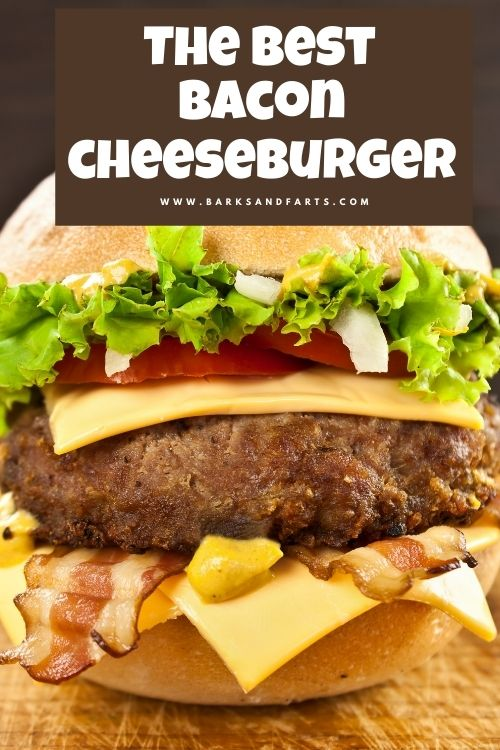 I want the best cheeseburger in paradise! This bacon cheeseburger has onion, lettuce, tomato, bacon, cheese, and hamburger bun.