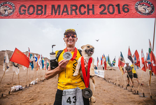Gobi and Leonard at the finish line after Leonard won second place.