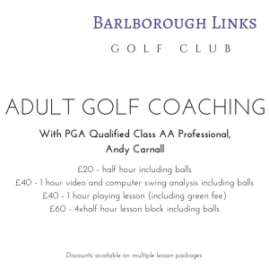 Barlborough Links Golf Club Coaching Golf Coach Andy Carnall Andrew Carnall Adult Golf Coaching