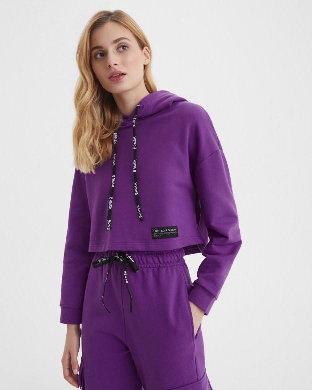 Худи женское укороченное фиолетовое