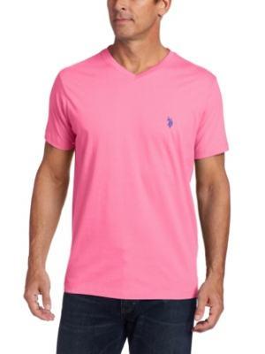 camiseta rosa gola v